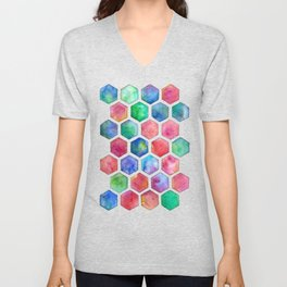 Hand Painted Watercolor Honeycomb Pattern Unisex V-Neck