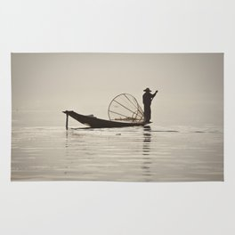 Fisherman at Inle Lake Rug