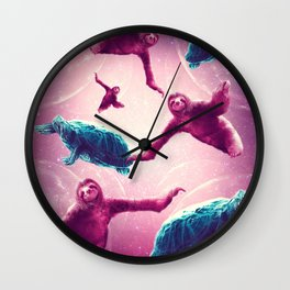 Crazy Funny Space Sloth With Turtle Wall Clock