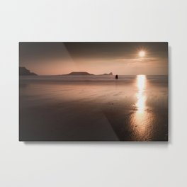 Sunset and wet sand at Worms Head, Gower, Wales Metal Print