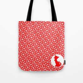 Red Kitty Cat Print Tote Bag
