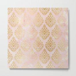 floral gold leaf diamond arabesque on pink Metal Print