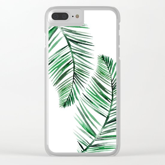 Tropical Exotic Palm Leaves on #Society6 Clear iPhone Case