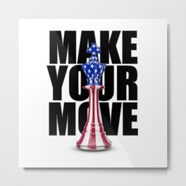 Make Your Move USA / 3D render of chess king with American flag Metal Print