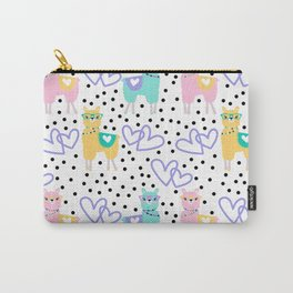Funny cute teal pink romantic violet hearts lama polka dots Carry-All Pouch