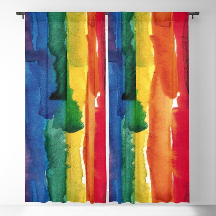 rainbow watercolor Blackout Curtain