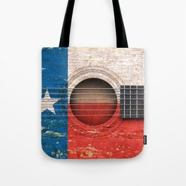 Old Vintage Acoustic Guitar with Texas Flag Tote Bag