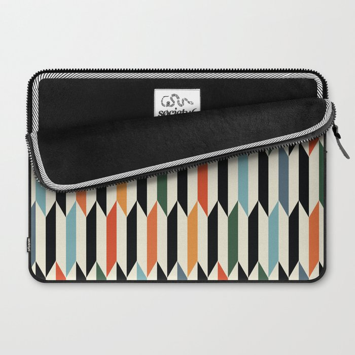 MCC Oddities III - Mid Century Modern Geometric Abstract Pattern - Red Orange Blue Green Black Laptop Sleeve