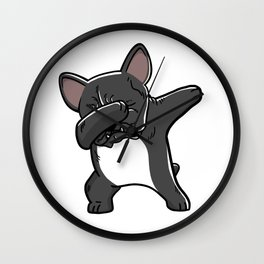 Funny Black French Bulldog Dabbing Wall Clock
