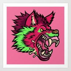 Pink Punk Wolf Art Print