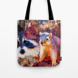 Squirrel And Raccoon Wildlife Art, Modern Nature Art Tote Bag