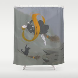 Witch is flying, cat is helping Shower Curtain
