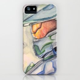 Halo gaming watercolor design iPhone Case