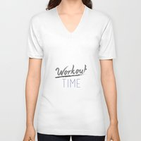 workout V-neck T-shirts featuring Workout Time by claudialvp