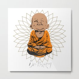 Be Happy Little Buddha on Mandala Metal Print