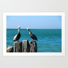 Two Old Guys On A Jetty Art Print