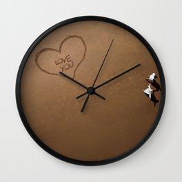 Romantic walk on the beach Wall Clock