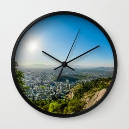 City, pollution, landscape Wall Clock