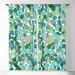 Blue Green Abstract Print Paint Splashes Dripping Pattern  Blackout Curtain