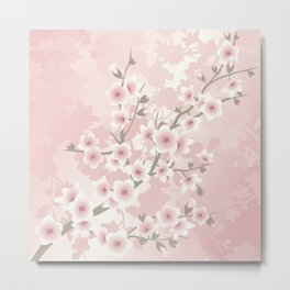 Vintage Floral Cherry Blossom Metal Print