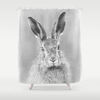 hare Shower Curtains featuring Hare by Mark Ferris