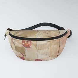 Orchid Flowers & Wood Collage Fanny Pack