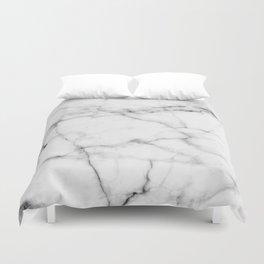 Pure White Real Marble Dark Grain All Over Duvet Cover