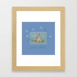 Spring Rabbit & Happy Easter quote Framed Art Print