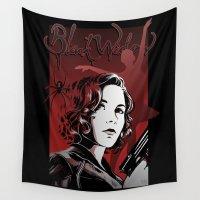 black widow Wall Tapestries featuring Black Widow by DeanDraws
