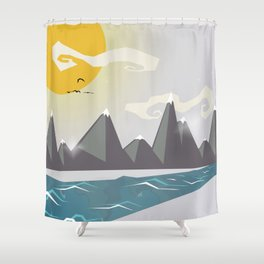 Grey mountains of joy Shower Curtain