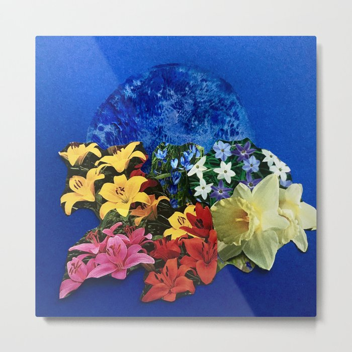 Garden Circle - Blue Metal Print