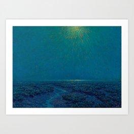 Granville Redmond-Moonlight on the Marsh Oil Painting Art Print