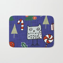 Christmas Owl Blue #Christmas #Holiday Bath Mat