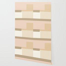 Sol Abstract Geometric Print in Tan Wallpaper