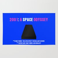 2001 a space odyssey Area & Throw Rugs featuring 2001: A Space Odyssey Movie Poster by FunnyFaceArt