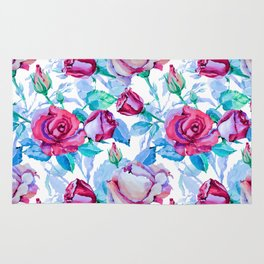 Elegant pink blue watercolor hand painted roses pattern Rug