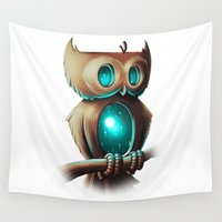 night Wall Tapestries featuring Night Owl by Chump Magic