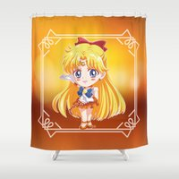 sailor venus Shower Curtains featuring Chibi Sailor Venus by Neo Crystal Tokyo