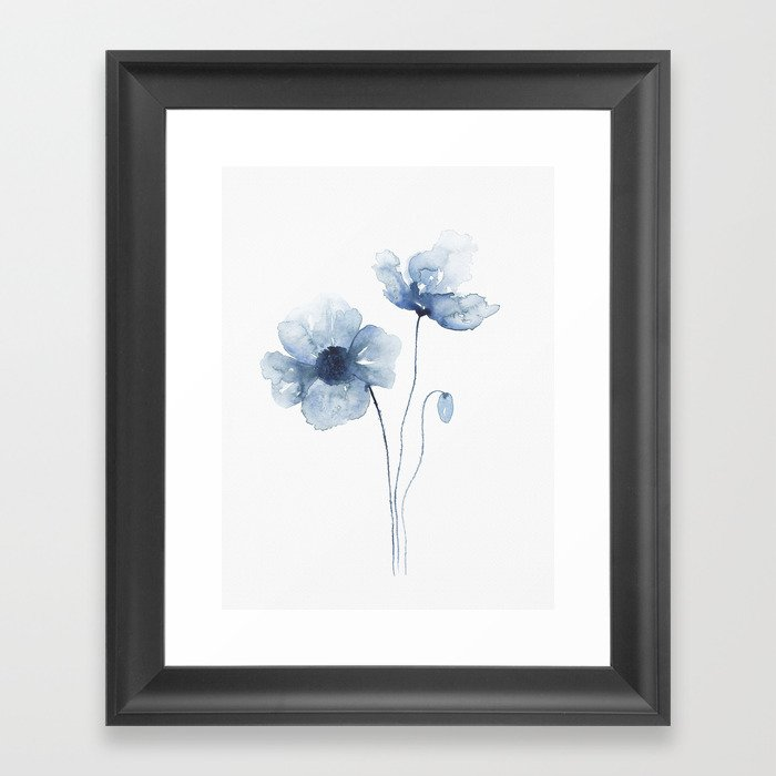 Blue Watercolor Poppies Gerahmter Kunstdruck