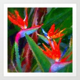 Bird of Paradise Family Abstract Art Print