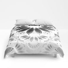 Silver Shikoba - Beautiful Black on White Fractal Paisley Forming Feathered Wings Comforters