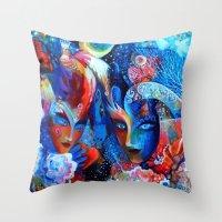 venice Throw Pillows featuring Venice by oxana zaika