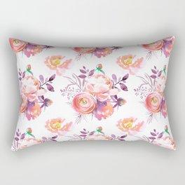 Purple orange pink hand painted watercolor roses Rectangular Pillow
