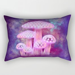 Pink Glowing Mushrooms Rectangular Pillow