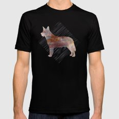 Modern Australian Cattle Dog Watercolor Stripes Black Mens Fitted Tee MEDIUM