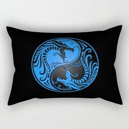 Blue and Black Yin Yang Dragons Rectangular Pillow