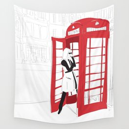 London Calling Fashion Phone Booth Girl Wall Tapestry