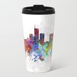 Essen skyline in watercolor background Travel Mug