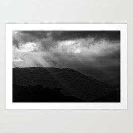 Rays in the mountains in B&W Art Print