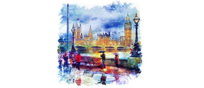 London Rain watercolor Coffee Mug